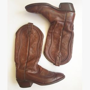 Dan Post Shoes - Vintage Cowboy Boots Dan Post Brown Leather