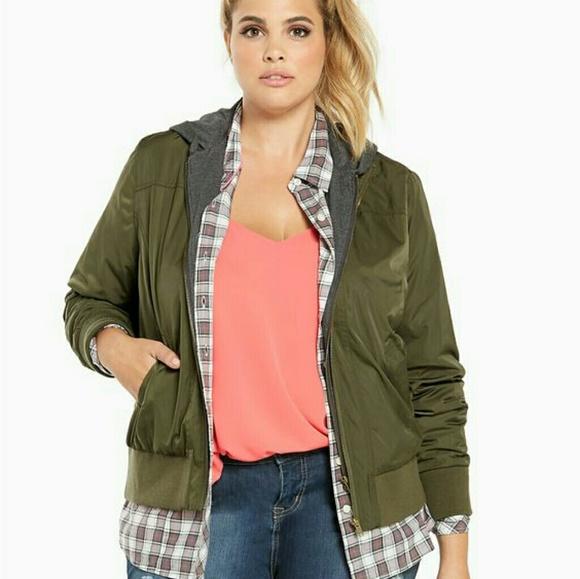 38e0a19468b13 Torrid green hooded bomber jacket