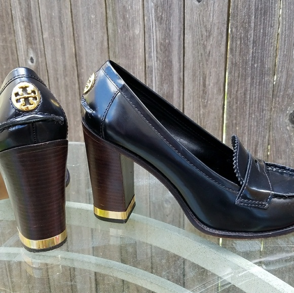 41f1d62d97301 Tory Burch Gold Trimmed Penny Loafer Heels