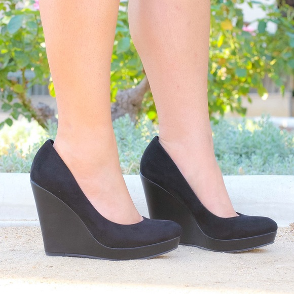 Shoes - Black Faux Suede Wedges!