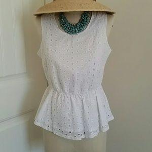 Tops - White cotton peplum top