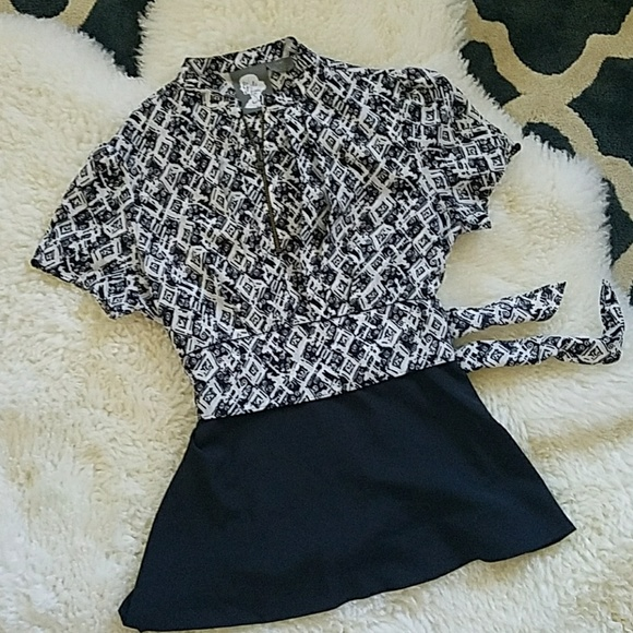 Anthropologie Tops Girls From Savoy Black And White Blouse Bow