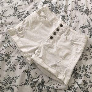cello jeans Pants - White Distressed denim shorts