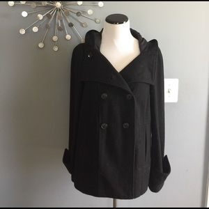 Zara hooded wool peacoat