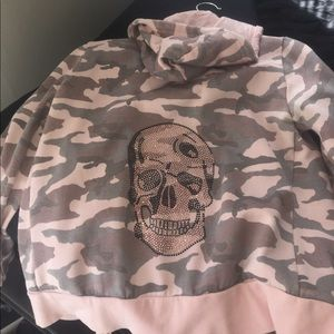 Kings of Cole Tops - Kings of Cole pink camo skull zip up
