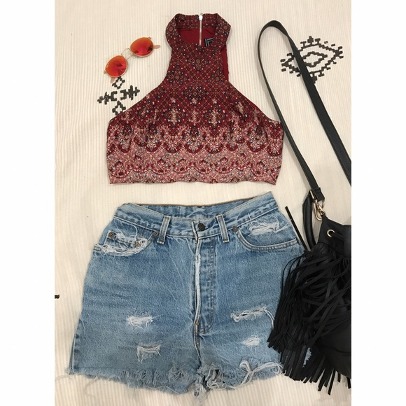 9773f1e49c4a9 Free People Tops - Forever 21 cropped Bohemian tank
