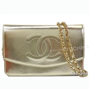 HPChanel champagne gold wallet bag