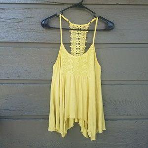 American Rag Tops - American Rag Yellow Crochet Flowy Top