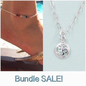 🍃Chakra Anklet & Om Pendant Necklace Bundled! 💦