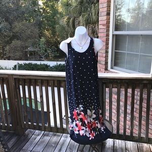 Pull on polka dot, floral dress