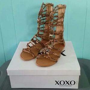 "XOXO Shoes - NIB XOXO Tan/Snake ""Gizella"" Gladiator Sandals"