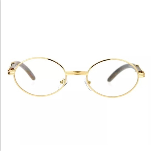4913c3fe5a2 Gold Frame Vintage Migos Style Clear Oval Glasses.  M 58e94b18fbf6f9d8cf001134