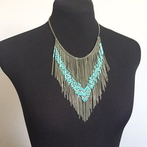 Forever 21 Jewelry - Blue Beads & Silver Fringe Necklace