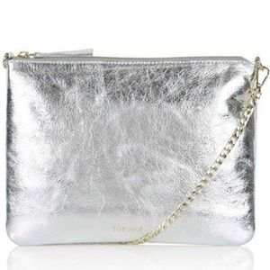 New TopShop silver leather clutch/ crossbody