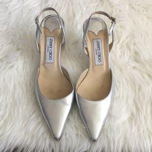 Jimmy Choo Shoes - Jimmy Choo Silver Point Toe Slingback Wedding Shoe