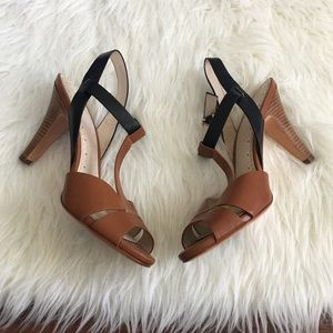 Brooks Brothers Shoes - Brooks Brothers Tan & Black Strappy Leather Pumps