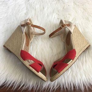 BCBGeneration Shoes - BCBGeneration Red & Cream Vanessa Espadrille Wedge