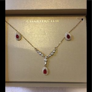 Charter Club Jewelry - NWT Gold & ruby colored necklace & earrings set