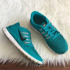 Nike Shoes - Nike Teal & White Free Run 5.0 Running Sneakers