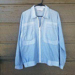 Vintage Jackets & Blazers - Vintage 90s Goola Gong Blue and White Jacket