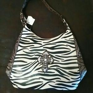 Handbags - Zebra Print Cross Bling Purse