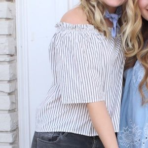 Pin stripe off the shoulder top!