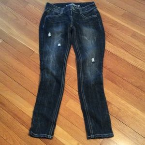 Almost Famous Denim - Almost Famous Indigo Distressed Skinny Straights