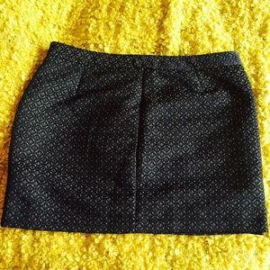 Metallic and Black Textured Mini Skirt