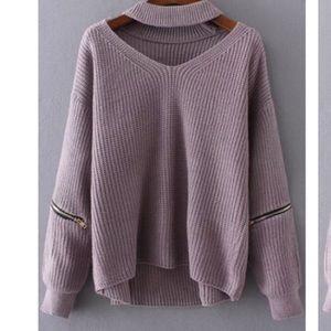 ROMWE Sweaters - Purple Choker Pullover Sweater
