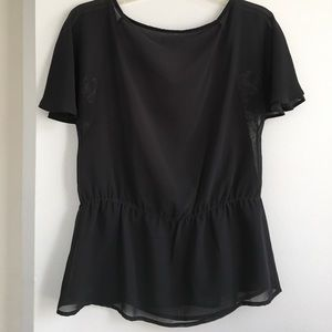 Tops Charcoal Gray Blouse With Flower Design Poshmark