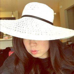 BCBG white straw hat