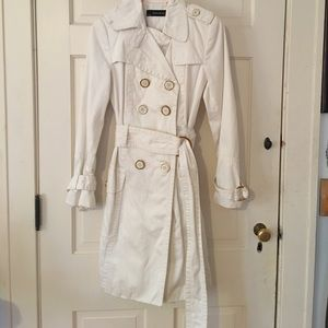 ZARA Basics White Trench with Gold Buttons