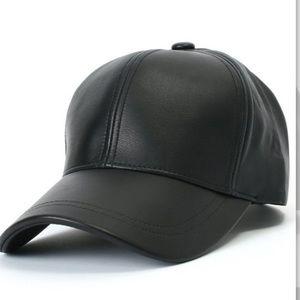 Accessories - Unisex Black Leather Hat