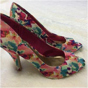 Christian Siriano watercolor peep toe pumps