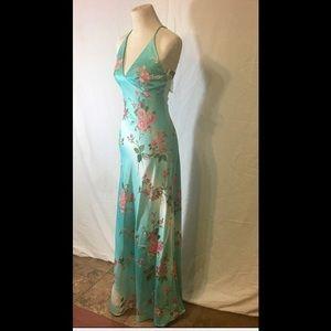 JS Boutique Dresses & Skirts - NWT $180 Slinky Sleek Floral Aquamarine Gown