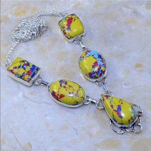 Jewelry - Silver necklace jasper stone chain 925 yellow blue