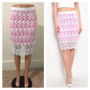 Dresses & Skirts - NIP small neon pink & Ivory lace pencil skirt