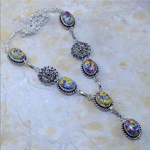 Jewelry - Silver necklace jasper stone chain 925 mosaic blue