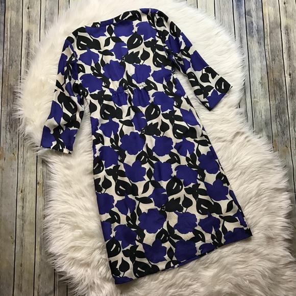 Boden Dresses - Boden Blue Black Beige Floral Silk Dress