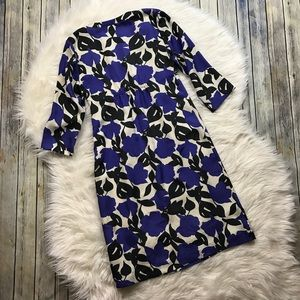 Boden Dresses - Boden Blue Black Beige Floral Silk Dress