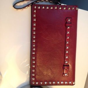 Large burgundy wine  stud trim clutch purse
