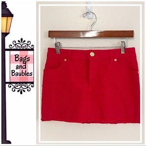 TORY BURCH Red Denim Mini Skirt, Size 26