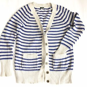 J. Crew Sweaters - J. Crew Blue and Ivory Striped Chunky Cardigan