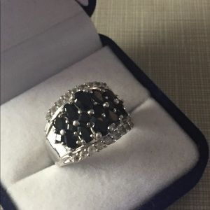 qvc silver festival Jewelry - Magnificent sterling silver pearshape blck spinel