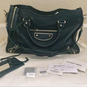 Balenciaga Handbags - Balenciaga Metallic Edge Classic City  (Bleu Paon)