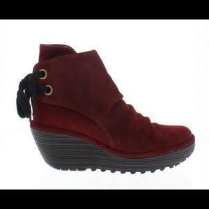 Fly London Shoes - Fly London Yama Boots Oil Suede Wine Red Size 38
