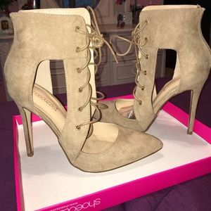 Shoedazzle Shoes - Taupe Strappy Heels NWT