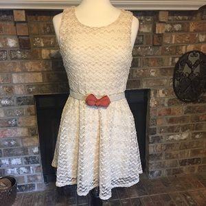 Sans Souci Dresses & Skirts - Sans Souci cream crochet lace dress skater XL