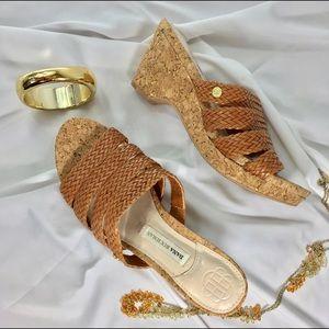 "Dana Buchman Shoes - NWOT DANA BUCHMAN 3"" Cork Wedge Strappy Sandals"