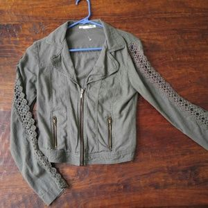 Maurices olive green cutout linen blazer jacket